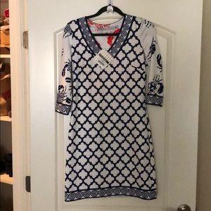 Gretchen Scott XS navy and white dress.